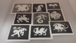 30 x dragon stencils for glitter tattoos / airbrush / henna / face painting  boys children fund raising